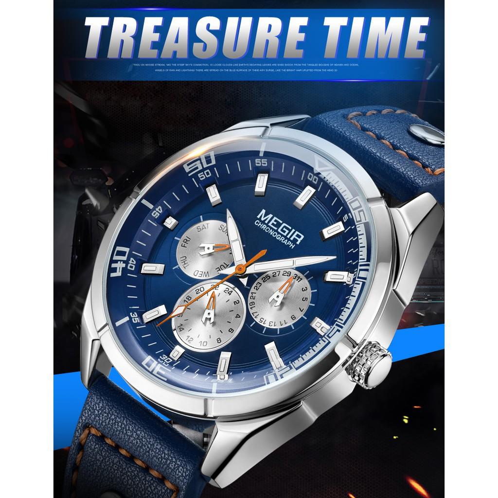 Đồng hồ đeo tay mặt tròn MEGIR đơn giản thời trang dành cho nam