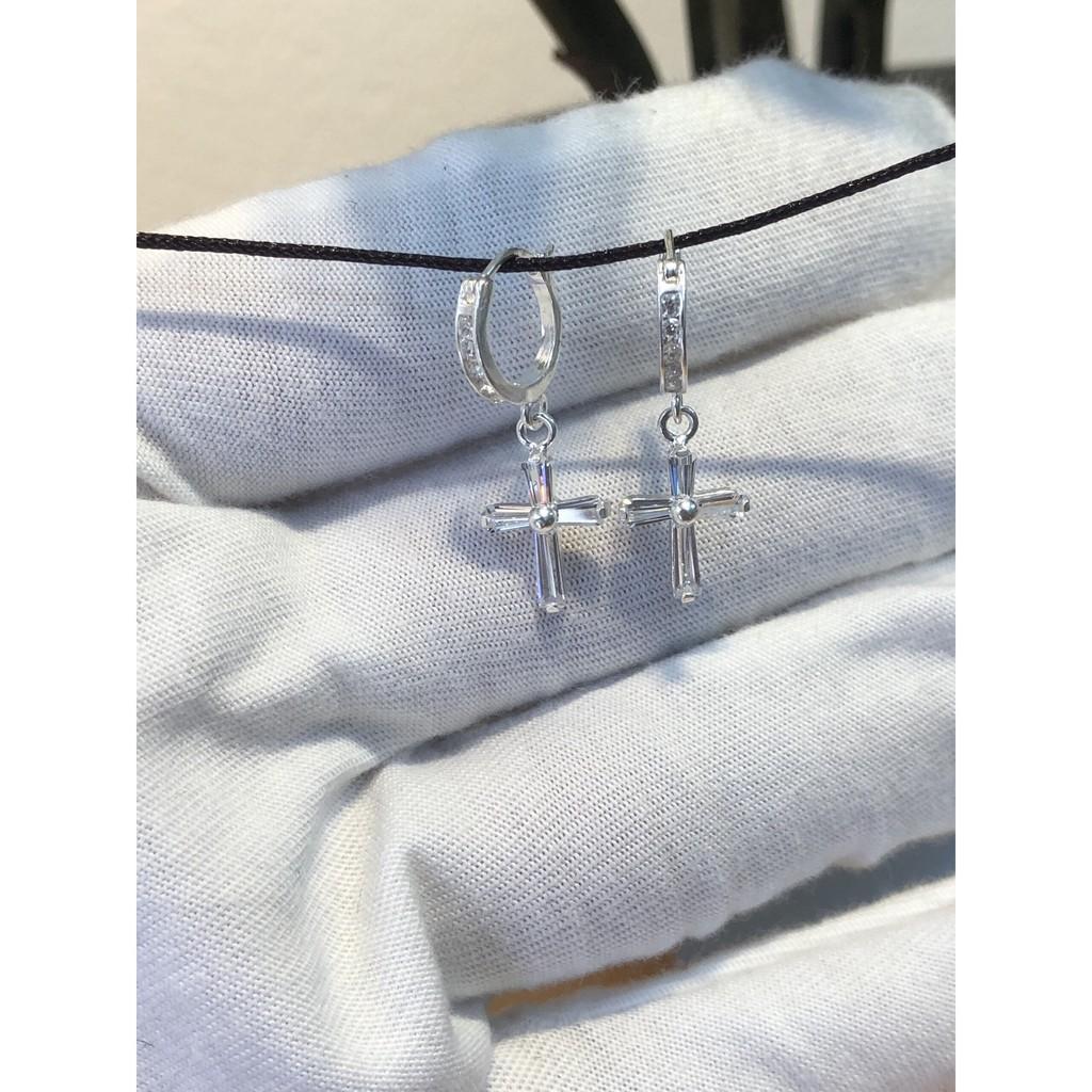 Khuyên tròn bạc thánh giá đinh đá Tlee bạc nguyên chất