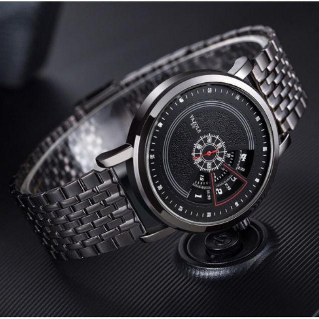 Đồng hồ nam YAZOLE 510 dây da - dây thép màu đen Chính Hãng