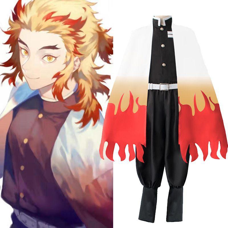 Demon Slayer:Kimetsu No Yaiba Rengoku Kyoujurou Cosplay Costume Kimono Robe Suit