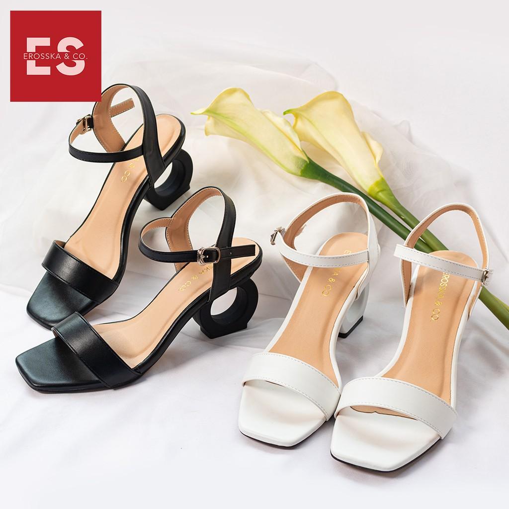 Giày sandal cao gót Erosska thời trang hở mũi phối dây thiết kế sang trọng cao 7cm màu đen _ EB009