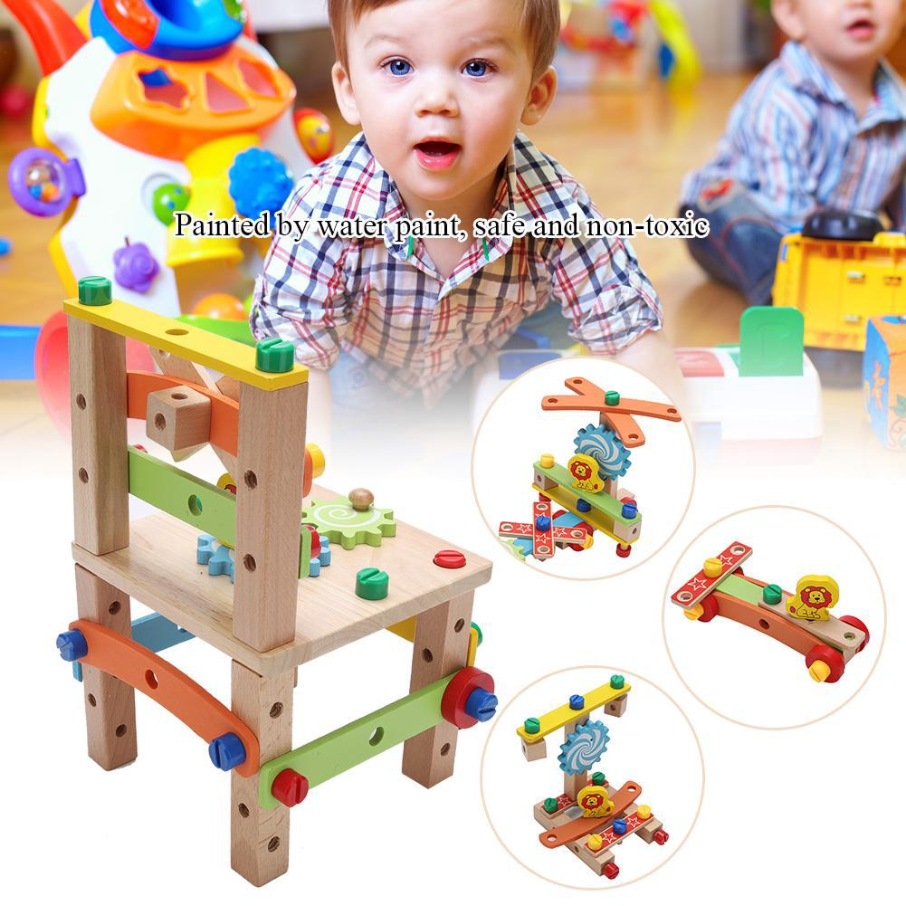 Havasshop 2 Type DIY Wooden Disassembly Chair Toys Tool Assembly Toys Of Nuts Wooden Puzzle Learning Toys For Children K