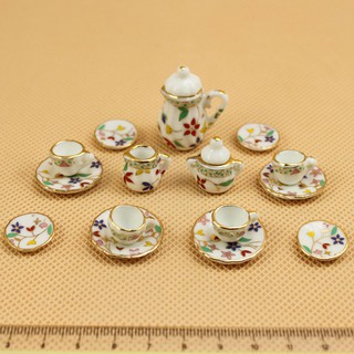 15Pcs/Set Miniature Doll House Ceramic Teaware Tea Pot Cups Decor