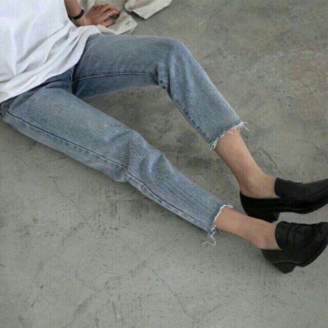 [Giá siêu rẻ] Quần baggy jean trơn màu xám xanh, lai rách cá tính, kèm ảnh thật trải sàn