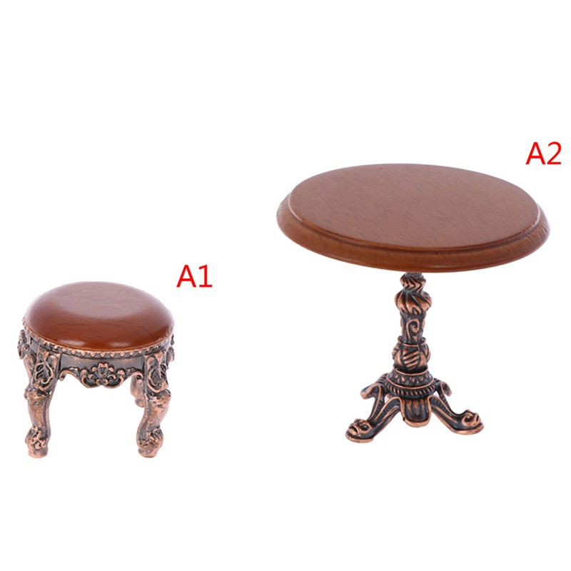 ★ƯU ĐÃI ★1:12 Dollhouse Miniature Furniture Wooden Round Kitchen Side Table and stool
