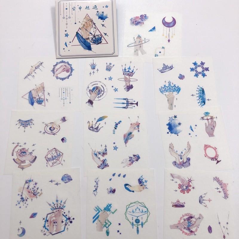 Set 10 tấm 10x10cm (gồm nhiều hình nhỏ) sticker hình dán sổ tay trang trí