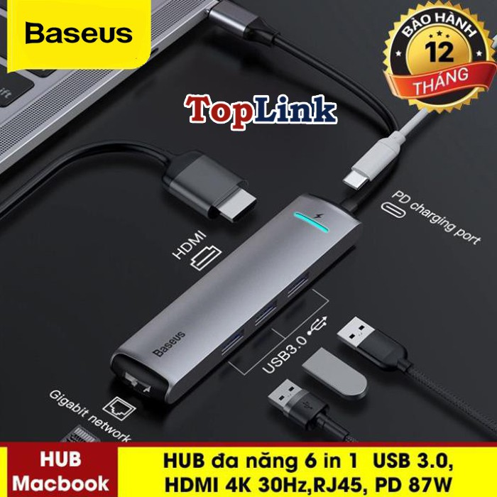HUB Đa Năng Baseus 6 In 1 USB 3.0 RJ45 Carder Đầu Đọc OTG Adapter Cho MacBook Pro - HUB Splitter Huawei Matebook