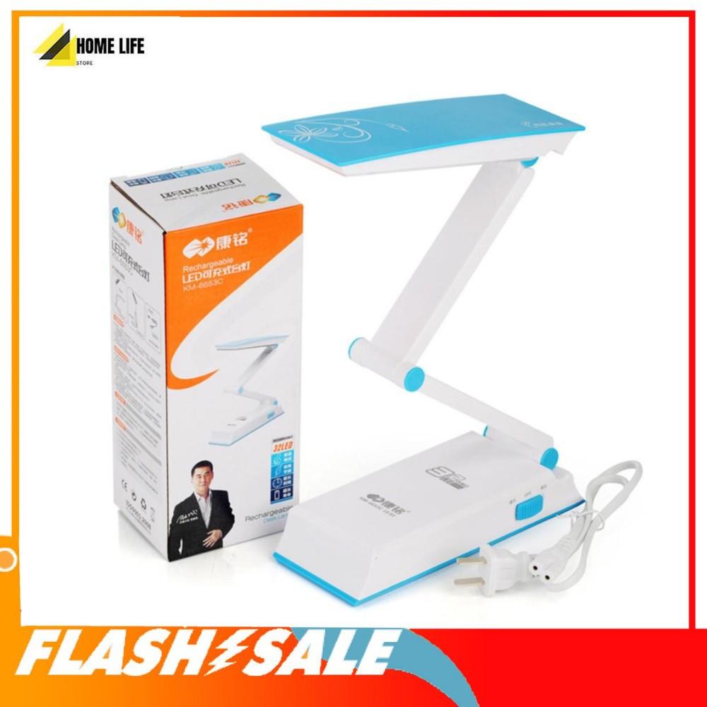 Giá bán Đèn Học Để Bàn Tích Điện KM-6653C, Đèn LED Tích Điện Gấp Gọn Chống  Cận Thị