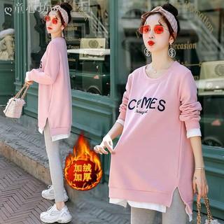 Set Áo Sweater Phối Nhung Tay Dài Thời Trang Mùa Đông 2019 Cho Mẹ Bầu