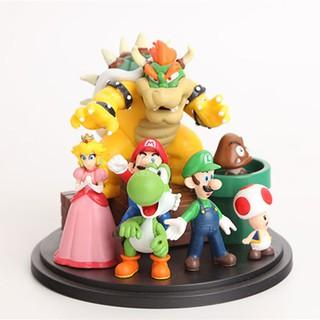 Cartoon Super Mario Bros Bowser Princess Peach Yoshi Luigi Toad Goomba PVC Action Figure Collectible Model Kids Toys