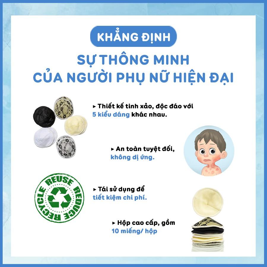 [Organic] Miếng Lót Thấm Sữa Giặt Được NatureBond FDA Hoa Kỳ Cotton Tre Tự Nhiên Kháng Khuẩn 10 Tấm 5 Thiết Kế Tinh Tế