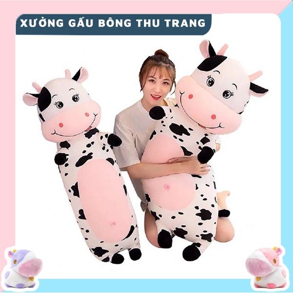 Gấu Bông Gối Ôm Thú Nhồi Bông Bò Sữa