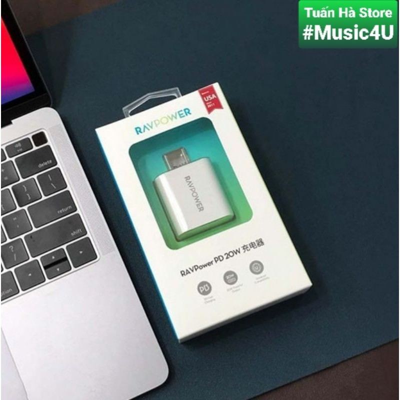 Bộ sạc nhanh RavPower 20W và cáp RP-CB054 cho IPhone 12, IPhone 12 Pro, IPhone 12 Pro Max [Music4U]