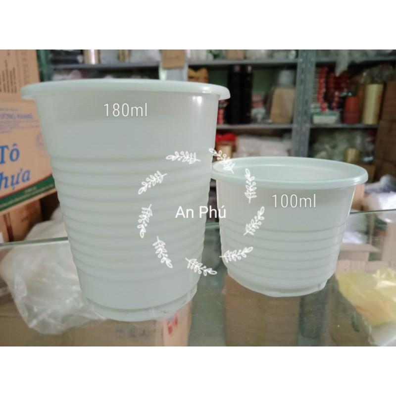 50 Ly nhựa PP 100ml 180ml kèm nắp đựng yaourt phomai