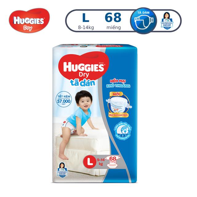 Tã dán Huggies Dry Super Jumbo L68/XL62/XXL56/M76