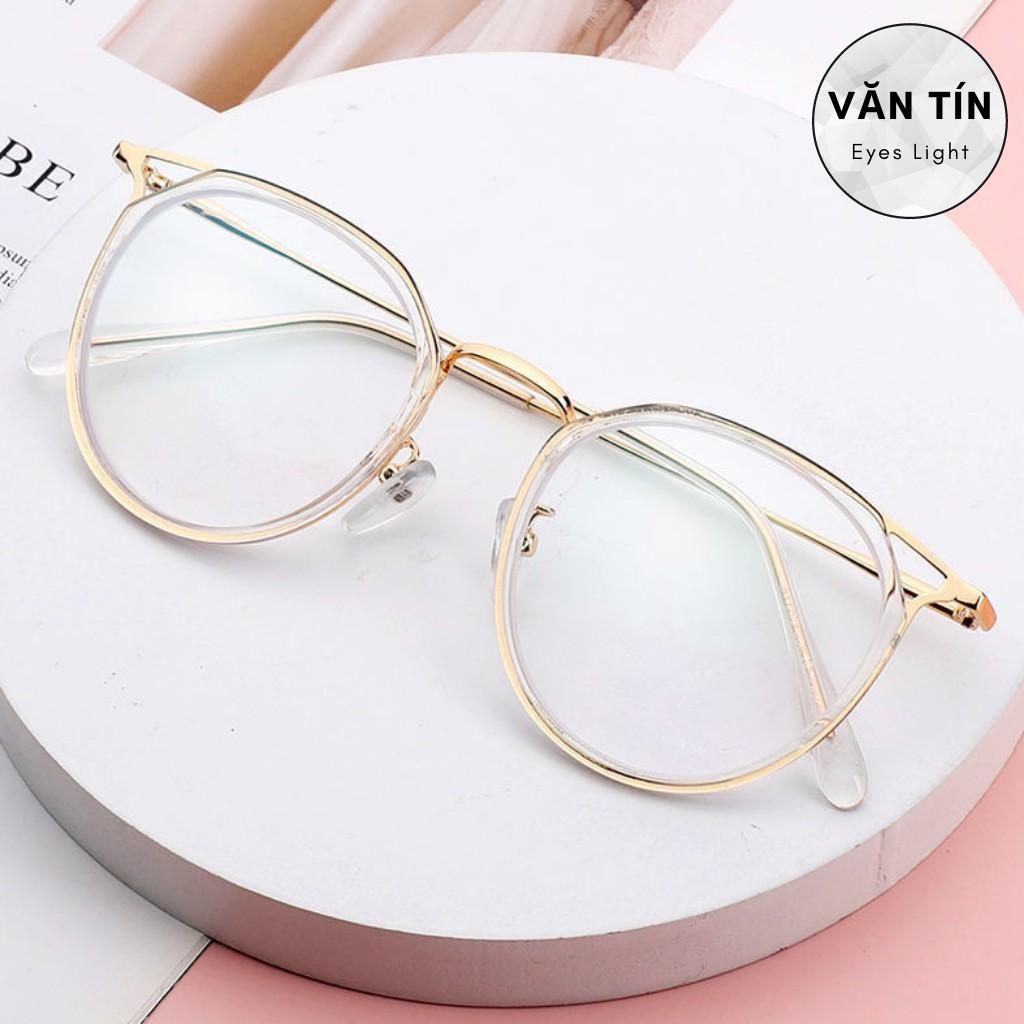 Gọng kính cận nữ T530 mắt kính tròn viền kim loại mạ vàng càng nhựa trong suốt hot trend