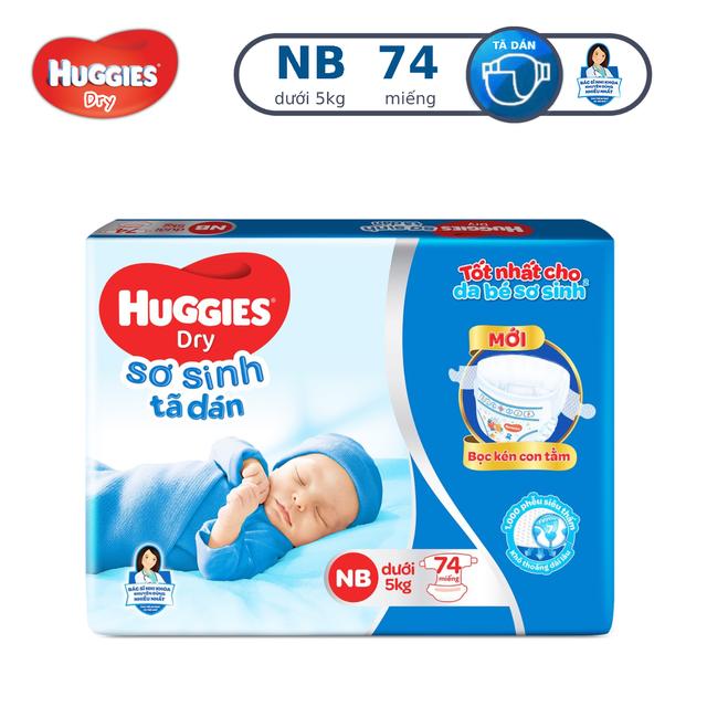 Tã dán sơ sinh Huggies NB74 (dưới 5kg) - Gói 74 miếng