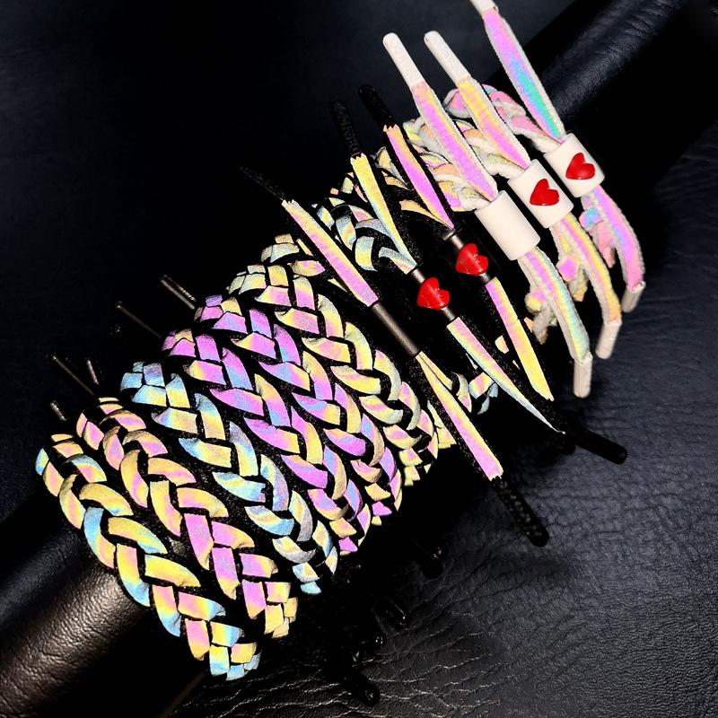 Vòng đeo tay dây bện hiệu ứng phản quang thiết kế thắt nút thời trang cho cặ