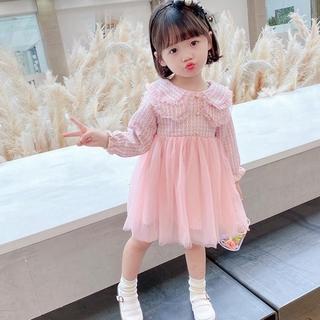 Đầm Tay Dài Họa Tiết Ca Rô Phong Cách Hàn Quốc Cho Bé Gái