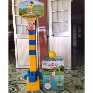 Bộ trò chơi lắp ghép Abbott Grow cỡ siêu lớn kiêm cột bóng rổ cho bé.