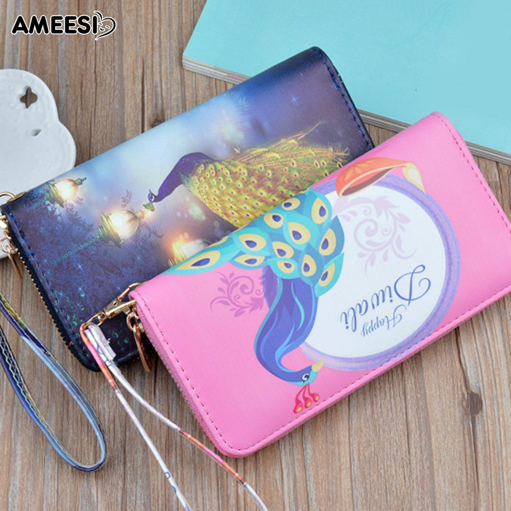 👜👝AMEESI Peacock Purse Women Zip Wristlet Purse Phone Holder