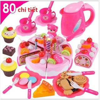 Bộ đồ chơi cắt bánh sinh nhật 80 chi tiết (có nến phát sáng)