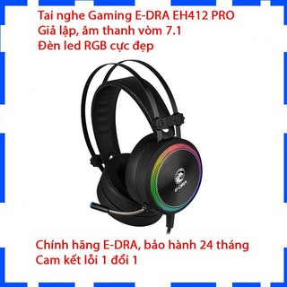Tai nghe chụp tai Gaming E-Dra EH412 Pro/Giả lập âm thanh vòm 7.1, LED RGB, Vành tai lớn/Bảo hành 24 tháng