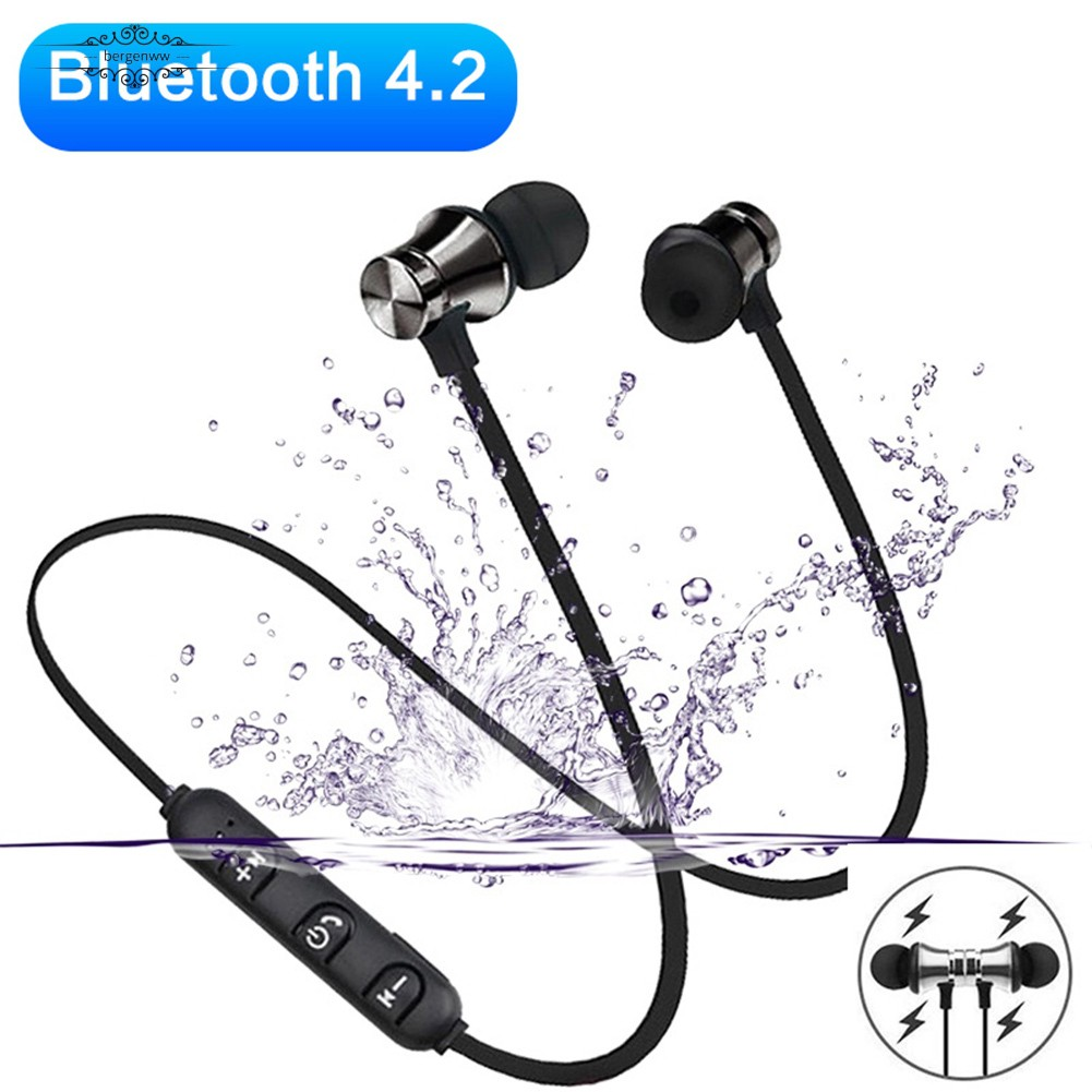 ✅Magnetic Wireless Bluetooth 4.2 In-Ear Stereo Earphone Sports Headphone with Mic