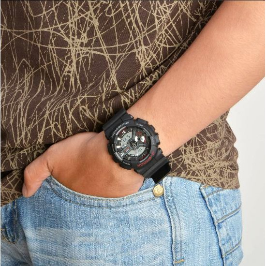 Đồng hồ Nam G-Shock Casio dây nhựa kim-điện tử GA-110-1ADR Chính hãng Casio Anh Khuê