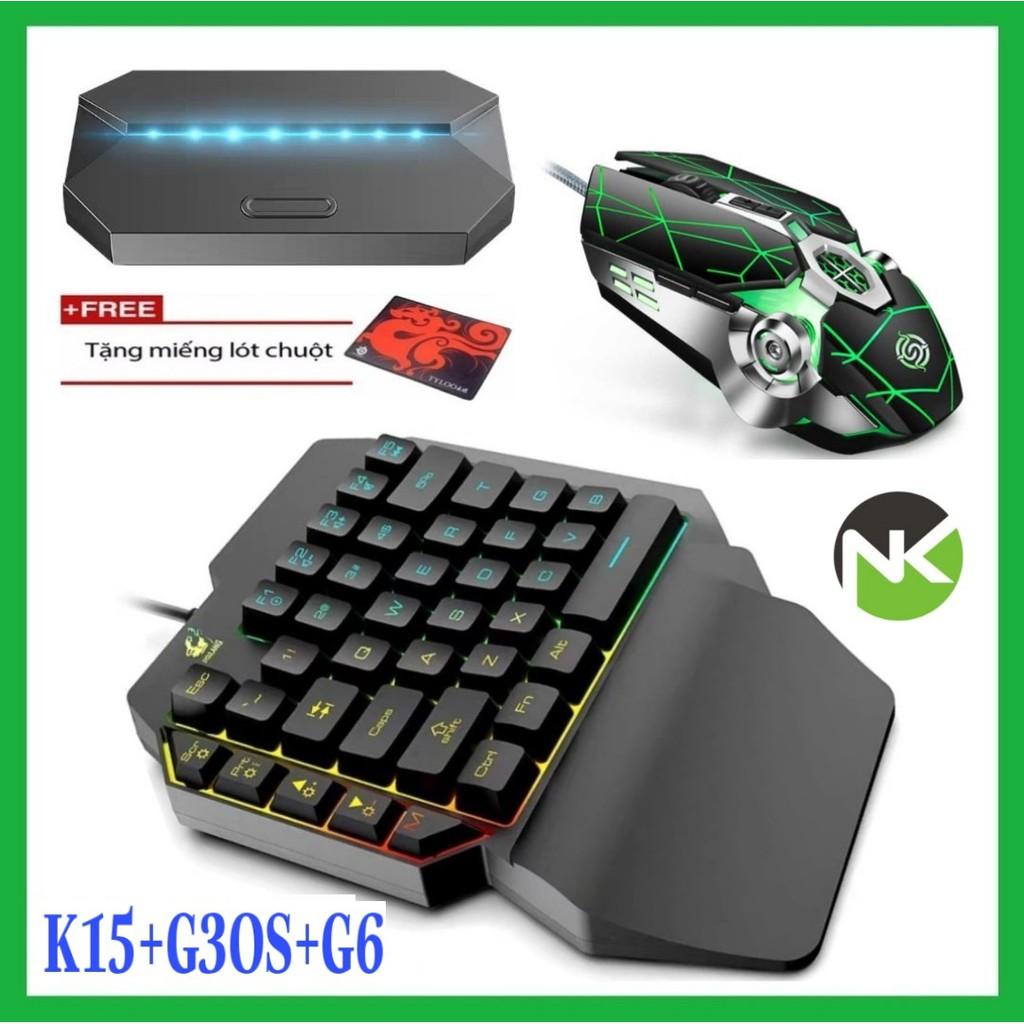 Combo Trọn Bộ Bàn Phím K15 + Chuột + Hộp Chuyển Đổi G6 chơi game PUBG Mobile cho Android, IOS, iPad như PC - NK