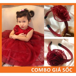 Combo Khuyến mại váy đầm mặc tết cho bé, đầm màu đỏ đô hàng thiết kế CKIDS