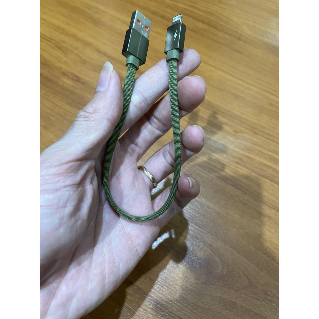 Dây cáp sạc iPhone lightning ngắn chỉ 23cm dây dù cao cấp, hỗ trợ sạc nhanh