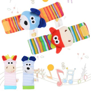 4 packs Newest Baby Infant Soft Toy — Foots finders and Wrist Rattles Hands