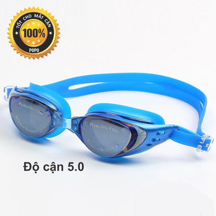 Kính bơi cận 5,0 độ thế hệ mới 610 Xanh kiểu dáng thời trang nhỏ gọn, chống UV, chống sương mờ POPO