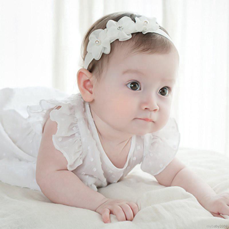 Băng đô bé gái đính hoa ren đáng yêu xinh xắn thumbnail