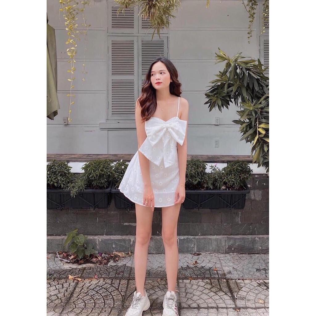 Váy Hai Dây Nữ Nơ Ngực Chun Lưng Dáng Chữ A Hoa Nhí MSKS9