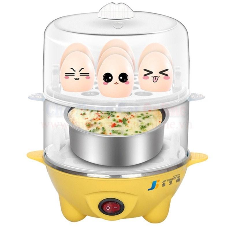 Nồi hấp trứng đa năng mini inox 2 tầng
