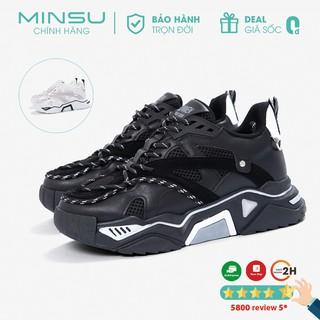 Giày Thể Thao Sneaker Cặp Đôi Nam Nữ Phản Quang MINSU M4401 Cool Ngầu Độn Đế Tăng Chiều Cao 5cm Kiểu Dáng Giày Hàn Quốc