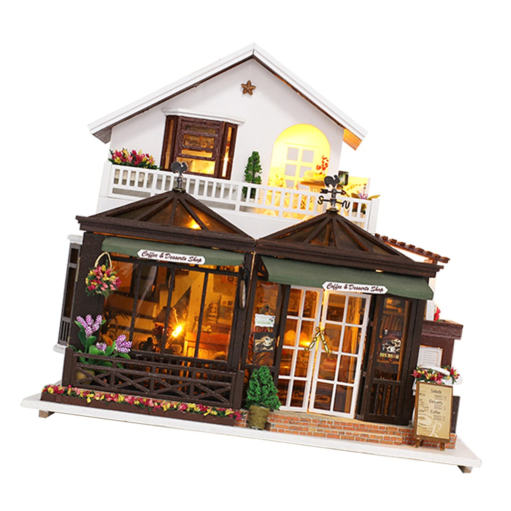 DIY Dolls House Kit Wooden Miniature with Furniture LED Lights Coffee House