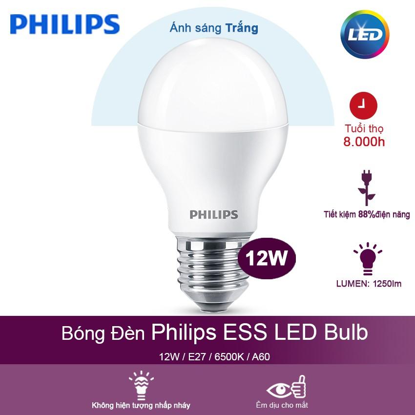 Bóng đèn Philips LED ESS LEDBulb 12W 6500K đuôi E27 230V A60 - Ánh sáng trắng