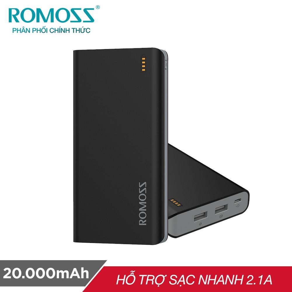 Pin sạc dự phòng Romoss Solit 20 20.000mAh (Đen) - Hãng phân phối chính thức