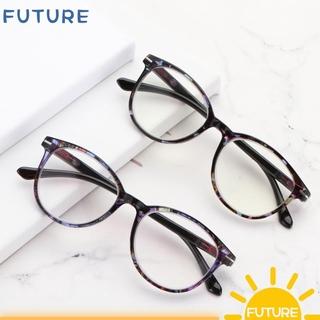 🎈FUTURE🎈 Vintage Reading Glasses Round Floral Frame Spring Hinge Presbyopia Eyeglasses Women & Men Ultra-clear Vision Fashion Anti Glare Readers Eyewear blue/pink/blue