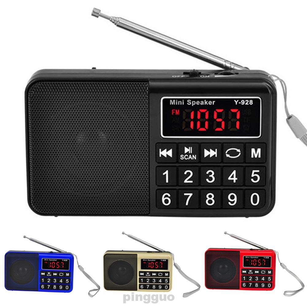 AM FM Handheld Large Display Music Pocket Portable Rechargeable USB With Speaker Stores Automatically Radio