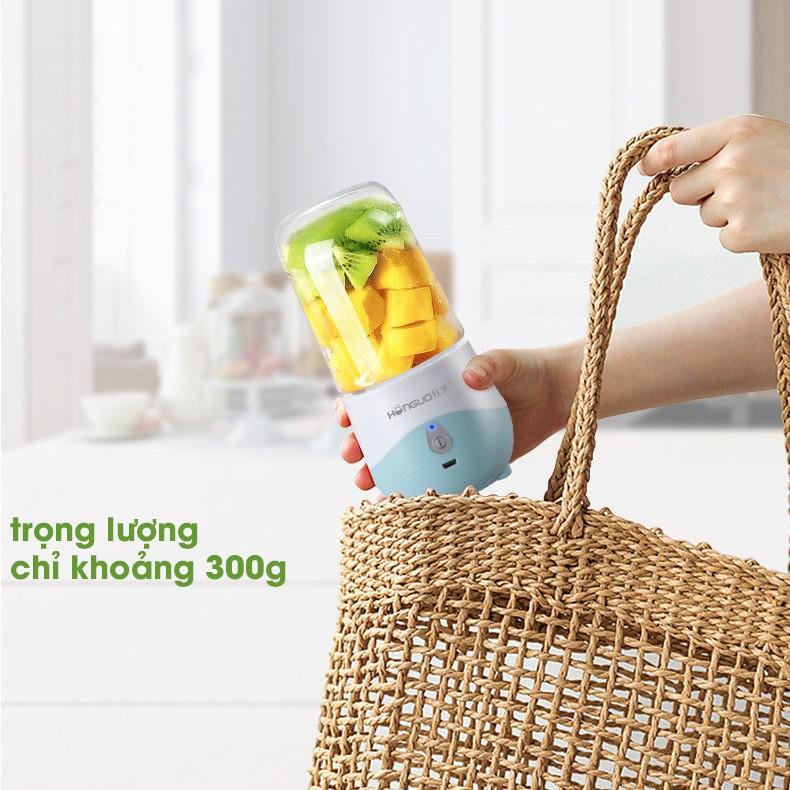 MÁY XAY SINH TỐ TRÁI CÂY CẦM TAY CAO CẤP HONGUO 6 LƯỠI SẠC PIN 300ml (MXM35)