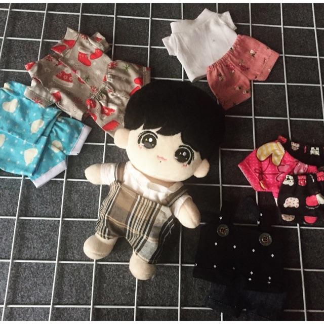 Oufit cho doll-Set Yếm Caro và áo sơ mi cho doll
