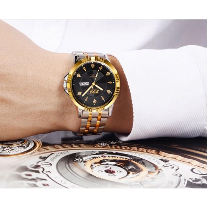Đồng hồ nam Bosck 2 lịch dây inox không rỉ