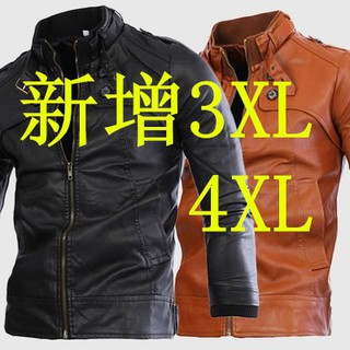 Men's motorcycle leather collar 4 button washed leather Y248