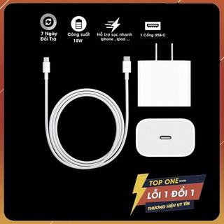 Củ Sạc Nhanh Chính Hãng 18W USB-C Bảo Hàng 12 Tháng. Cáp Sạc Nhanh USB-C To Lightning