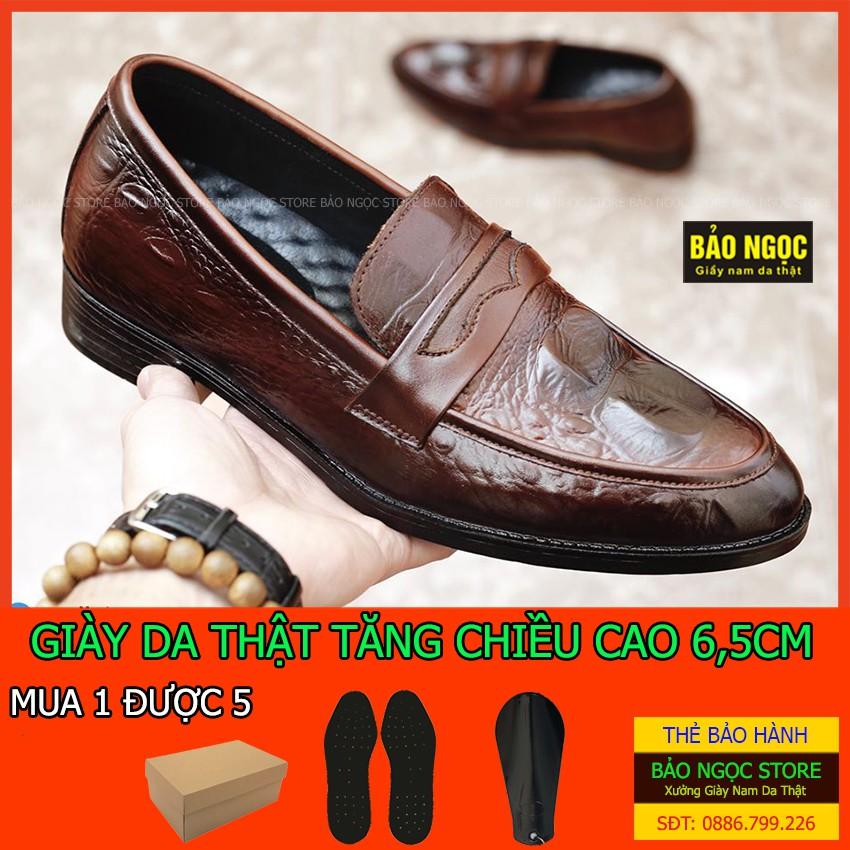 Giày tăng chiều cao nam BẢO NGỌC STORE ✅ Da bò tấm loại 1 cao cấp 🎁 Dập vân cá sấu thời trang ✅ Mã TC16 (Nâu Sang)