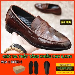 Giày tăng chiều cao nam BẢO NGỌC STORE Da bò tấm loại 1 cao cấp Dập vân cá sấu thời trang Mã TC16 (Nâu Sang) thumbnail